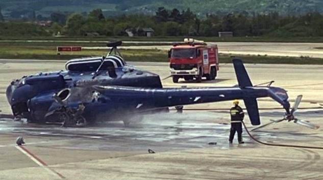 Üsküp'te polis helikopteri inişte ters döndü