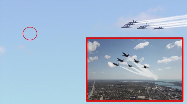 Blue Angels'ın Detriot semalarında dronla karşılaştı