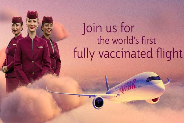 Qatar Airways, İlk tam COVID-19 aşılı uçuşunu yaptı